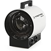 TROTEC Calefactor eléctrico TDS 20 R, 3000 W, 3 Niveles de calefacción, Termostato Integrado, Anti Sobrecalentamiento, Portátil, Compacto, Taller, Obras, Invernaderos