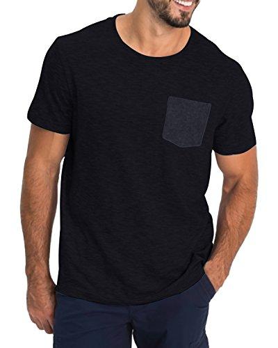 MODCHOK Herren T-Shirt Kurzarm Shirt Pockekt Tee Rundhals Ausschnitt Tops Regular Fit 1 Schwarz(mit Pocket) Medium