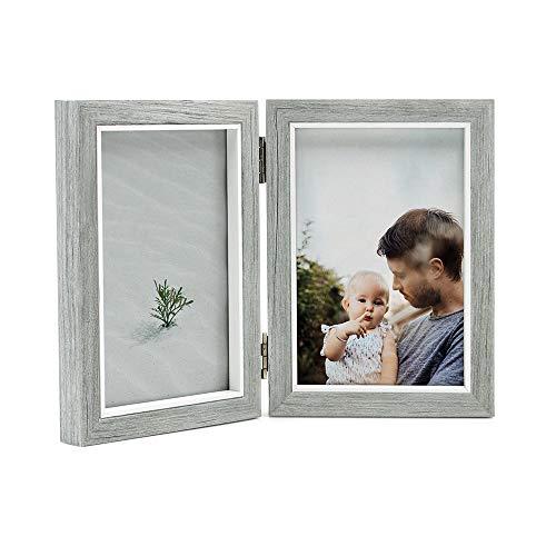 Afuly 10x15 Bilderrahmen Grau Weiß Doppelt Holz für 2 Bilder Collage Moderne Shabby Deko Baby Family Haustier Geschenk
