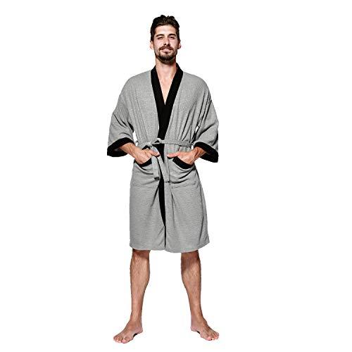 BESIDE STAR Herren Waffelpique Bademantel Morgenmantel Nachtwäsche Kimono Saunamantel mit Taschen und Bindegürtel aus Baumwolle Grau Saunamantel Mit Taschen Robe