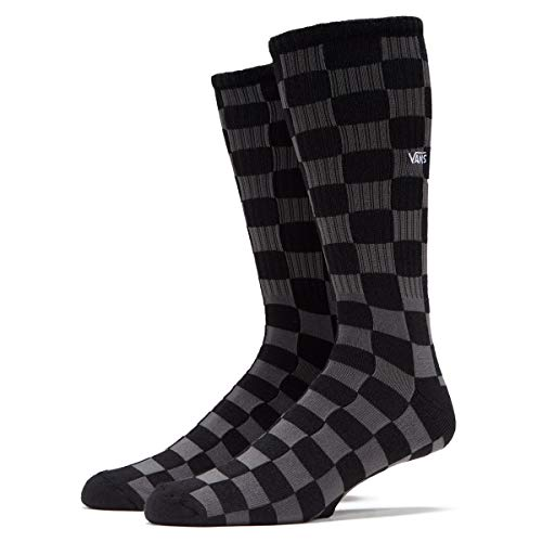 Vans, Checkerboard Crew-Socks (grande/9.5-13, negro/carbón).