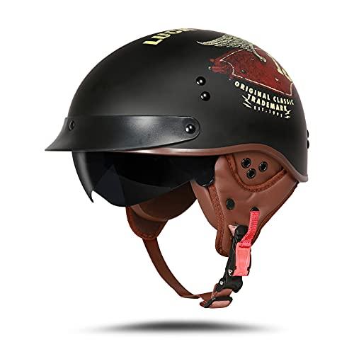 LIONCIANO Cascos De Motocicleta para Hombres y Mujeres Aprobado por Dot/ECE, Cascos De Ciclomotor con Viseras El(Suerte Negro Mate, M 57-58cm)