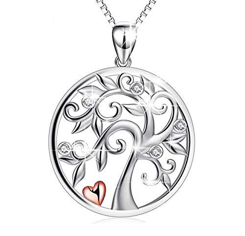 SG Reyes. Silberkette Damen 925 mit Anhänger Lebensbaum. Ein wunderschöner Glücksbringer. Länge von 45 cm bis 50 cm. Das perfekte Geschenk,925 Sterling Silber, nickelfrei. (Glücksbringer 3)