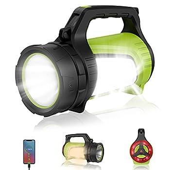 Fusee de Detresse Torche Lampe Camping - Multifonctionnelle Projecteur Extérieur étanche Faisceau Haute Puissance Lampe Poche 2000lm Lanterne légère à Prise USB Rechargeable Batterie 8800mAh
