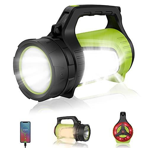 eeFul Campinglampe Handscheinwerfer Arbeitsleuchte Flashlight - Superhell 2000 Lumen mit 8800mah Powerbank inkl 10 Lichtmodi IPX4 Wasserdicht Wiederaufladbare LED Akku Lampe für Camping Abenteuer usw