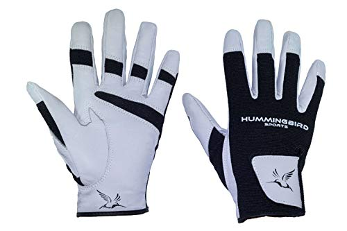Hummingbird Sports Girls Genuine Leather Lacrosse and Field Hockey Gloves (Gray, Small)