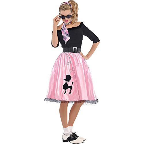 AMSCAN Sock Hop Sweetie 50's Halloween Costume for Women, Large, with Included Accessories