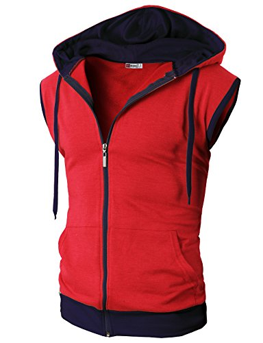 H2H Mens High Flexibility Active Fashion Sleeveless Hoodie Zip-up Vest RED US L/Asia XL (JNSK31)