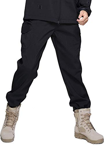 TACVASEN Casual Trousers Men Winter Fleece Trousers Outdoor Sports Military Trousers Snow Ski Trousers Black