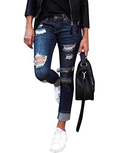 Onsoyours Jeans Damen Jeanshosen Röhrenjeans Skinny Slim Fit Stretch Boyfriend Zerrissene Destroyed Straight Denim Hose mit Löchern C Blau Medium