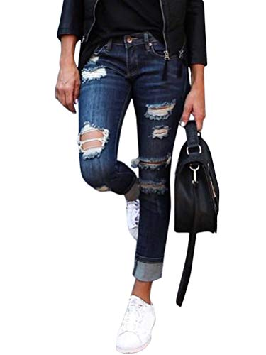 Onsoyours Jeans Damen Jeanshosen Röhrenjeans Skinny Slim Fit Stretch Boyfriend Zerrissene Destroyed Straight Denim Hose mit Löchern C Blau Medium