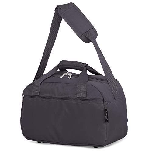 Aerolite 40x20x25 New and Improved 2020 Ryanair Maximum Size Holdall Cabin Luggage Under Seat Flight Bag, (Charcoal)