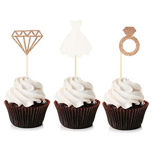 Unimall 24 Stück Glitter Bride Cupcake Topper Brautkleid Kuchen Topper für Hochzeit Engagement Bridal Shower Dekorationen Sein