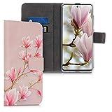 kwmobile Hülle kompatibel mit Samsung Galaxy A51 - Kunstleder Wallet Hülle mit Kartenfächern Stand Magnolien Rosa Weiß Altrosa