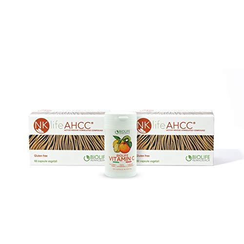 NKlife AHCC® 60 cps da 500 mg [2conf] + Biolife Vitamin C 120 cpr da 500 mg [Prod. Registrati al Ministero della Salute ] || 100% estr. di Fungo Shiitake L.E + 100% Vitamina C || Made in Italy