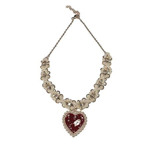 CLSMYLFB Collar de perlas de aleación roja de agua de diamante en forma de corazón patrón colgante collar de perlas collar vintage de múltiples capas