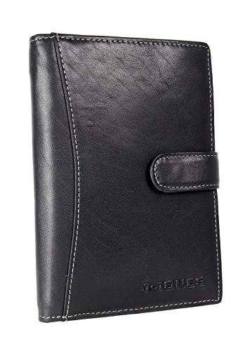 Herren Leder Brieftasche Groß mit Passfach RFID-Schutz Geldbeutel mit Außen-Riegel Business Börse mit 17 Kartenfächern (Schwarz)