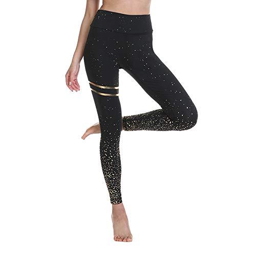 BESIDE STAR 2 Piezas Mallas de Deporte de Mujer con impresión, Leggins Mujer, Pantalones Mujer Crossfit, Yoga Fitness Negro S