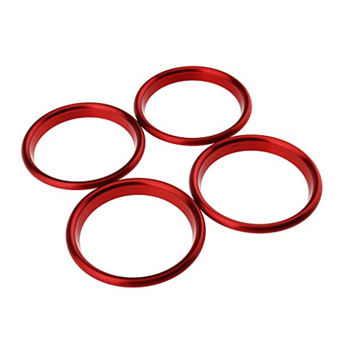 Lot de 4 Buses d'Aération Bagues Décoratives pour Grilles d'Aération 6,1 x 5,1 cm Rouge