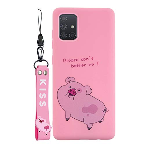 SHUNDA Galaxy A71 Case, Slim Cartoon Silicone Case with Lanyard Shockproof Protective Cover for Samsung Galaxy A71 - Pig