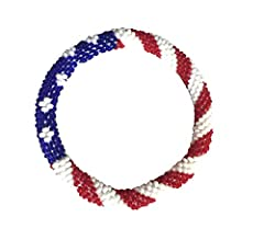 Handmade in Nepal Glass seed beads, cotton thread, USA Flag 7 -8 inches easy to roll over most wrist sizes (One size could fit most)