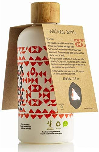 LS-LebenStil Natural Bottle 500ml Bio Trinkflasche Wasserflasche 97% Zuckerrohr Bambus