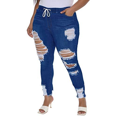 ALLABREVE Women Plus Size Pull-on Distressed Denim Joggers Drawstring Skinny Destroyed Jeans Elastic Waist Ripped Slim Fit Stretch Pants (Drawstring Dark Blue, 4XL)