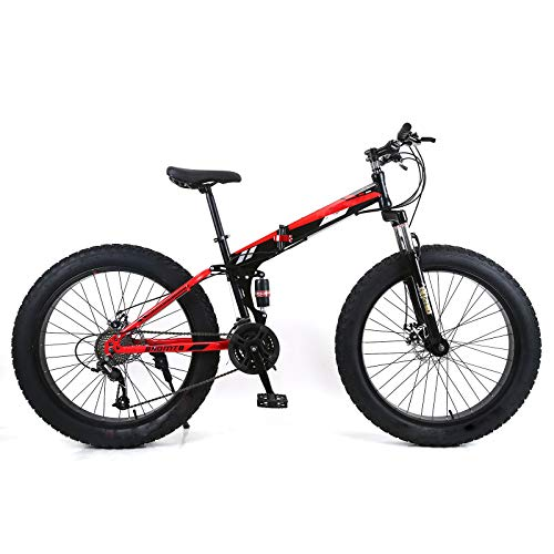 Beach and Snow Folding Bikes, Dual Shock Absorbers, Dual Disc Brakes, Soft Tail Mountain Bikes, 4.0 Widened Tires, Bicycles 24/26 Feet (7/21/24/27/30) 4-Speed,Red,24/30