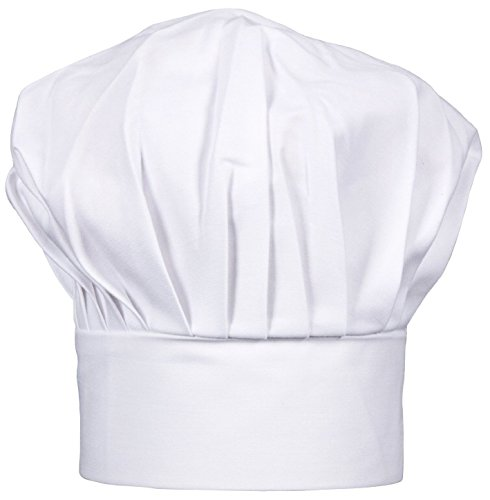 コック帽 綿100% シェフ 帽子 コック用 男女兼用 シェフキッチン (ホワイト)