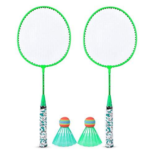 Raqueta de bádminton, Raqueta de bádminton para niños con 2 Bolas, Juego de Deportes al Aire Libre, Juguete para niños y niñas(Verde)