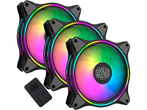 3-in-1 Cooler Master MasterFan MF120 Halo Duo-Ring Addressable RGB Lighting 120mm with Independently-Controlled LEDs, Absorbing Rubber Pads, PWM Static Pressure for Computer Case & Liquid Radiator