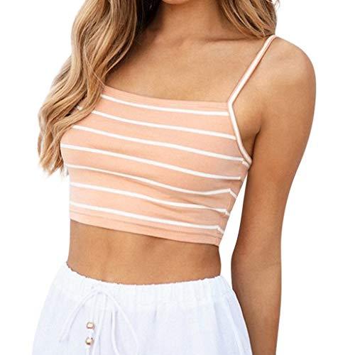 Luckycat Camisetas de Tirantes para Mujer, Mujeres Sexy de Hombros sin Mangas del Tanque Tops Chaleco Camiseta Blusa Crop Tops Camisa De Rayas