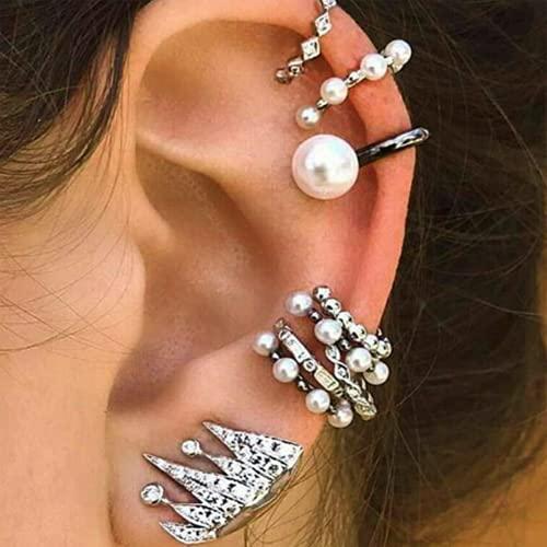 Yienate Juego de pendientes de perlas bohemios vintage con corona de diamantes de imitación para oído, diseño único de orejas, joyería de plata para mujeres y niñas (9 piezas)