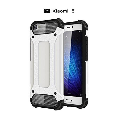 Ycloud Etui Schutzhülle für Xiaomi Mi5 Dual Layer 2 in 1 Eisenrüstung Heavy Duty Hybrid Rüstung PC + TPU Kombination Weiß Tasche für Xiaomi Mi5