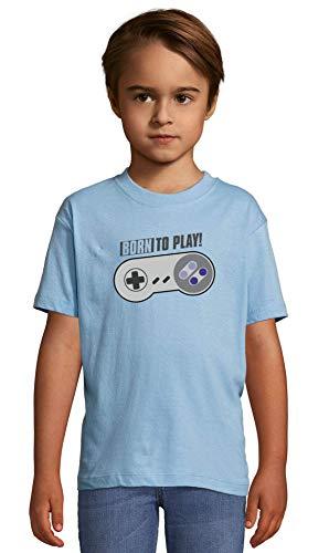 Atprints Born to Play Joystick Funny Gamer's Artwork Heaven Blue Crew Neck Kids T-Shirt 130-140 (10 Year)