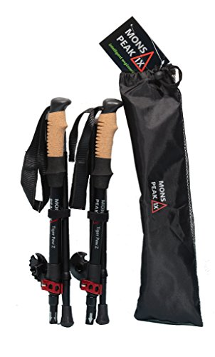 Mons Peak IX Tiger Paw Z Trekking Poles (Z-120) for Hiking, Trekking, Walking, Snowshoeing - Cork Grip, Folding, Collapsible, Adjustable and Lightweight Poles