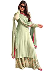 Ethnic Wings Women's Georgette Embroidered Semi-Stitched Salwar Suit Palazzo Set (MNR_ER118119_Pista_Free Size)