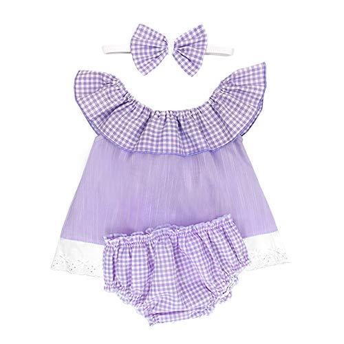 Conjunto de ropa de bebé para niña, color rosa, 3 piezas, camiseta para verano, algodón Lila-blanco. 80 cm-86 cm