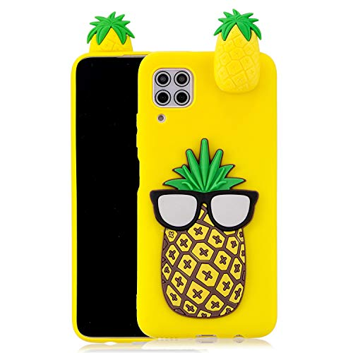 SEEYA Funda Silicona 3D para Huawei P40 Lite Case Amarilla Dibujo Piña Carcasas y Fundas para móviles Suave Flexible Delgado Bumper Diseño Kawaii Animados Caso Blando Bonitas para Huawei P40 Lite