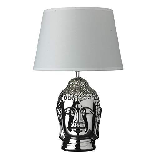 Tischlampe oder Schreibtischlampe aus Keramik Statue Buddha versilbert 30 x 30 x 47 cm