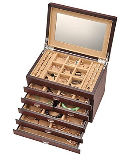 XIRENZHANG Caja de joyería de la Vendimia Caja de Almacenamiento de joyería de Seis Capas de Madera Caja de joyería de Caja Adecuada para Mujeres y Hombres