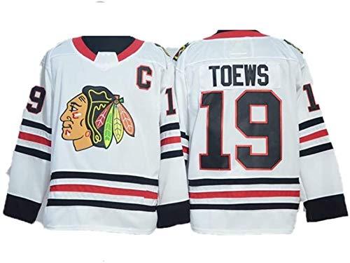 Eishockey-Trikots, Jonathan Toews # 19 Chicago Blackhawks Eishockey-Trikots NHL-Männer Sweatshirts Frauen Langes Ärmel T-Shirt (Color : Blanc, Size : XXL)