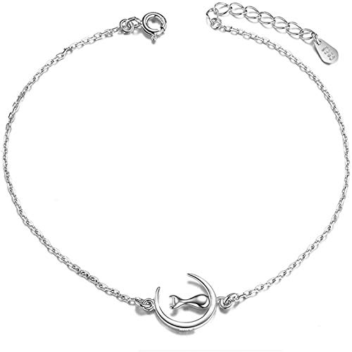 Avkeyu Ladies Anklet, 925 Sterling Silver, Chain, Decorated Cat On The Moon, Platinum, 200mm (adjustable)