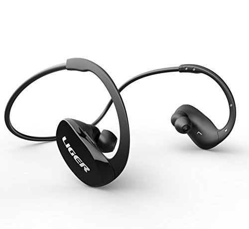 Bluetooth Headphones, Liger XS900 Wireless Bluetooth 4.0 Headphones with Noise Cancelling and Mic - Great for Sports, Running, Gym, Exercise -Wireless Bluetooth Earbuds Headset Earphones - Black