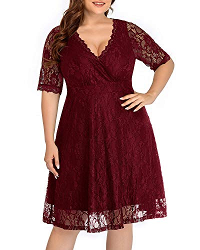 Women Lace V Neck Plus Size Cocktail Dress Burgundy Red Wedding Guest Semi-Formal Maroon Casual Party Knee Length Dress