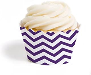 Dress My Cupcake Standard Cupcake Wrappers, Chevron, Royal Purple, Set of 12