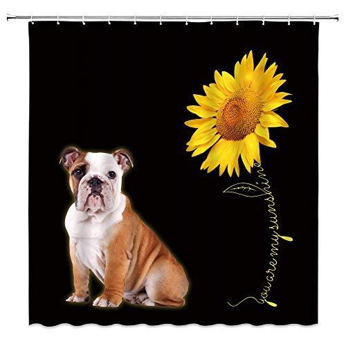 WZFashion Cute Bulldog Shower Curtain Sunflower Funny Bulldog with Sunflower Dog Lover Puppy Kids Creative Animal Yellow Rustic Fabric Children Pet for Family Bathroom Curtain with Hooks