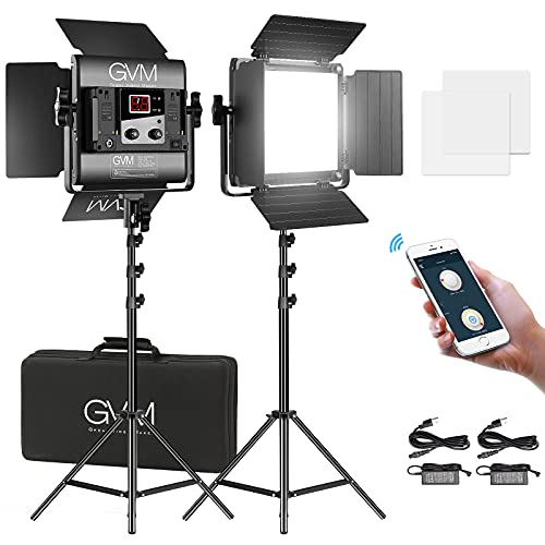Luce video LED GVM da 2 pezzi 560 con treppiede, illuminazione fotografica bicolore 2300K-6800K con controllo APP, kit di illuminazione video per registrazioni video in studio fotografico di YouTube