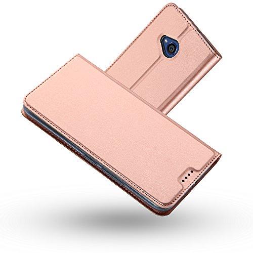 Radoo HTC U11 Life Hülle, Premium PU Leder Handyhülle Brieftasche-Stil Magnetisch Folio Flip Klapphülle Etui Brieftasche Hülle Schutzhülle Tasche Hülle Cover für HTC U11 Life (Roségold)