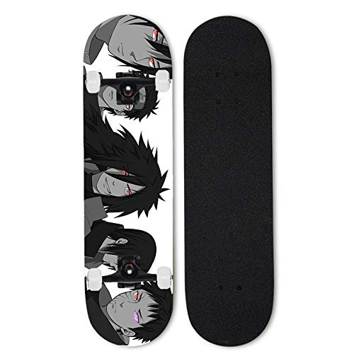 Totots Uchiha Obito Skateboard, Uchiha Sasuke Anime Doble Tilt Skateboard, Uchiha Itachi Monopatín Completo, Uchiha Madara Skateboard de Arce de 7 Capas, Naruto Concave Cruiser, Stunt Skateboard